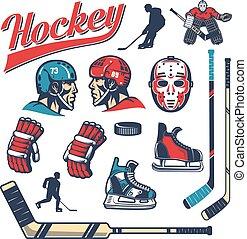 stijl, set, communie, ontwerp, hockey, retro