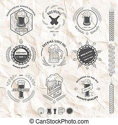 stijl, set, elements., ouderwetse , etiketten, bier, ontwerp, emblems, kentekens