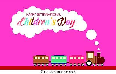 stijl, trein, spandoek, dag, kinderen