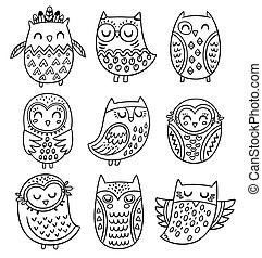 stijl, van een stam, verzameling, hand, uilen, vector, getrokken