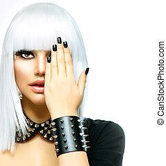 stijl, vrouw, mode, beauty, girl., vrijstaand, punker, witte