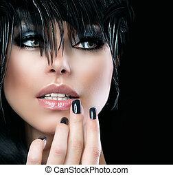 stijl, vrouw, mode, girl., kunst, mode, verticaal, mooi