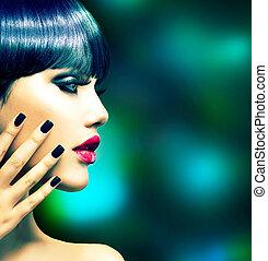 stijl, vrouw, mode, portrait., mode, model, profiel