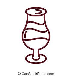 stijl, vullen, ontwerp, wijn glas