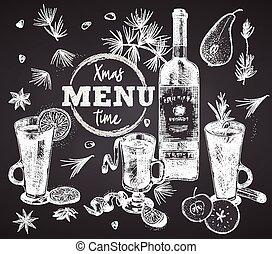 stijl, witte , of, kruiden, flessen, poster, rood, krijt, restaurant, menu, ouderwetse , schets, getrokken, plank, bar, set, kerstmis, spandoek, ontwerp, koffiehuis, achtergrond, black , wijntje, gravure, flyer, hand, kunst, grafisch