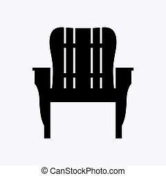 stoel, buiten, armleuningen, houten