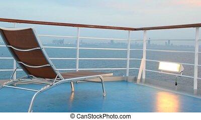 stoel, cruise, verhuizing, scheeps , dek