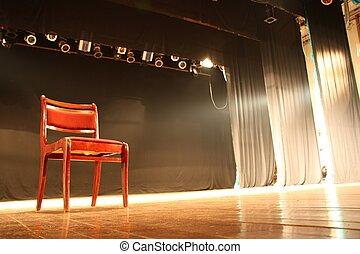 stoel, lege, theater, toneel