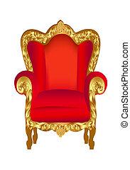 stoel, oud, rood, goud