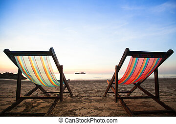 stoelen, strand, zee, coast.