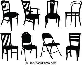 stoelen, vector, -, verzameling
