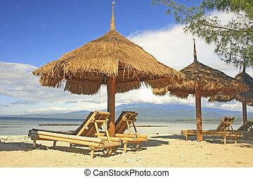 stoelen, zon, strand, paraplu's