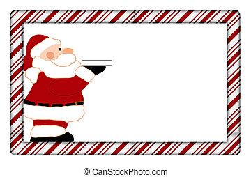 stok, frame, versuikeren, jouw, kerstman, uitnodiging, boodschap, of