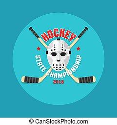 stokken ., plat, stijl, masker, gekruiste, hockey, logo, goalkeeper's