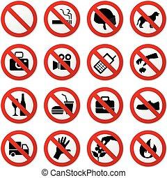 stoppen, nee, verboden, meldingsbord