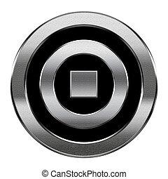 stoppen, vrijstaand, achtergrond., zilver, witte , pictogram