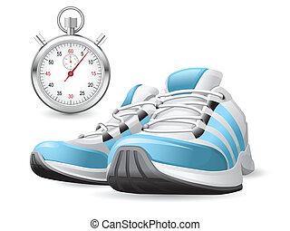 stopwatch, lopende schoenen
