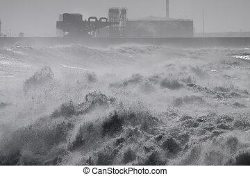 storm, zware, gedurende, muur, haven