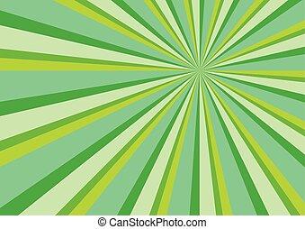 straal, barsten, achtergrond, abstract, groen licht