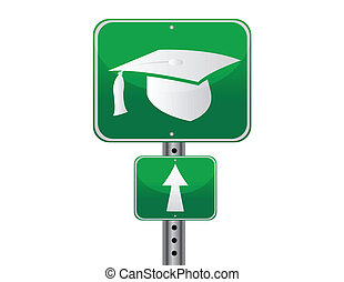 straat, afgestudeerd, meldingsbord