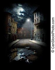 straat, nacht