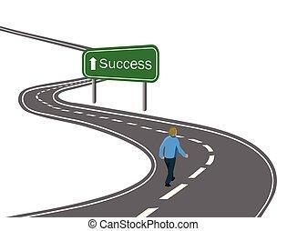 straat, wandelende, concept, overwinning, succes, asfalt, het teken van de pijl, reis, groene, doelen, weg, gebogen, witte , bereiken, snelweg, man