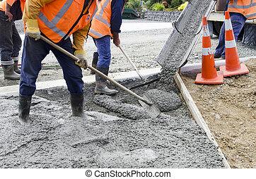 straat, werkende , beton, -