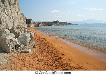 strand, eiland, xi, cephalonia