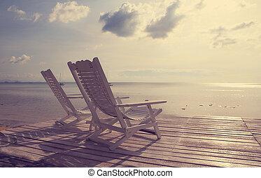 strand, filter, revers, stoel, houten, zeezicht, ouderwetse , effect, witte