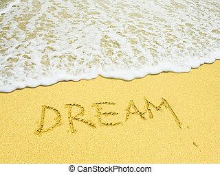 strand, geschreven woord, droom, zanderig