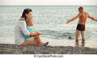 strand, gezin, jonge, zomer