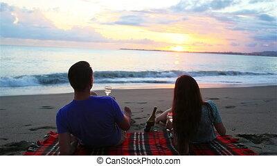 strand, hebben, familie picknick