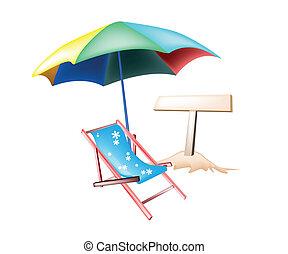 strand, illustratie, stoel, houten, plakkaat