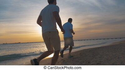 strand, jogging, avond, ondergaande zon , langs