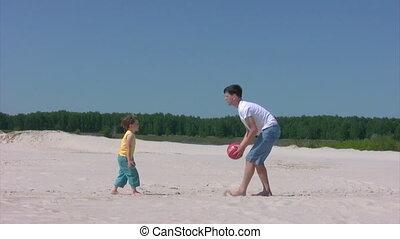 strand, jongen, bal, toneelstukken, man