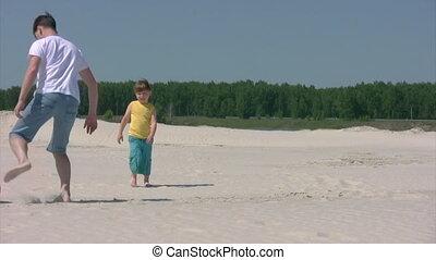 strand, jongen, voetbal, toneelstukken, man