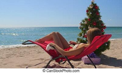 strand, kerstmis, achtergrond, feestdagen