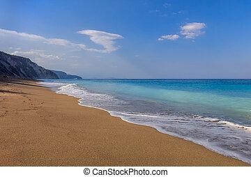 strand., lefkada, gialos, griekenland