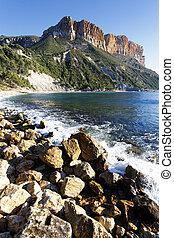 strand, middellandse zee, rots