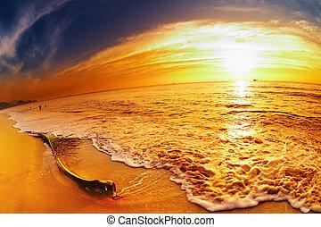 strand, ondergaande zon , thailand, tropische