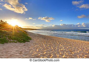 strand, oneloa, hawaii, tropische , zonsondergang strand, maui