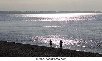 strand, peple, ondergaande zon