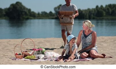 strand picknick, hebben, gezin, vrolijke