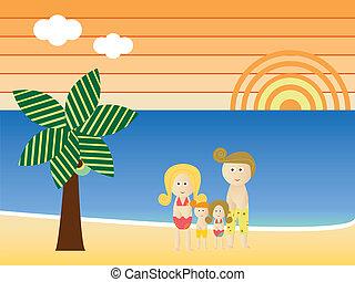 strand, retro, familie vakantie