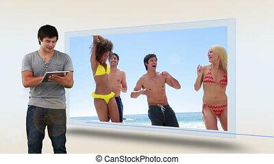 strand, schouwend, vakantie, man, zijn