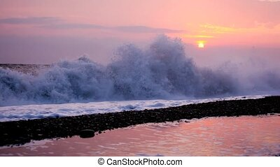 strand, silhouette, zee, jonge, rennende , ondergaande zon , achtergrond, man, vrolijke
