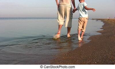 strand, wandelende, vader, zoon