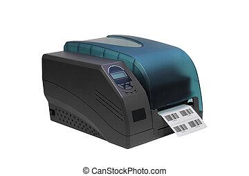 streepjescode, op, etiket, achtergrond, vrijstaand, printer, witte