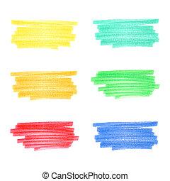 strepen, 5, set, met de hand gemaakt, teken, kleuren, plat