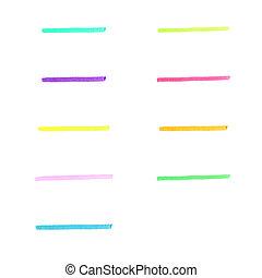 strepen, set, met de hand gemaakt, teken, 2